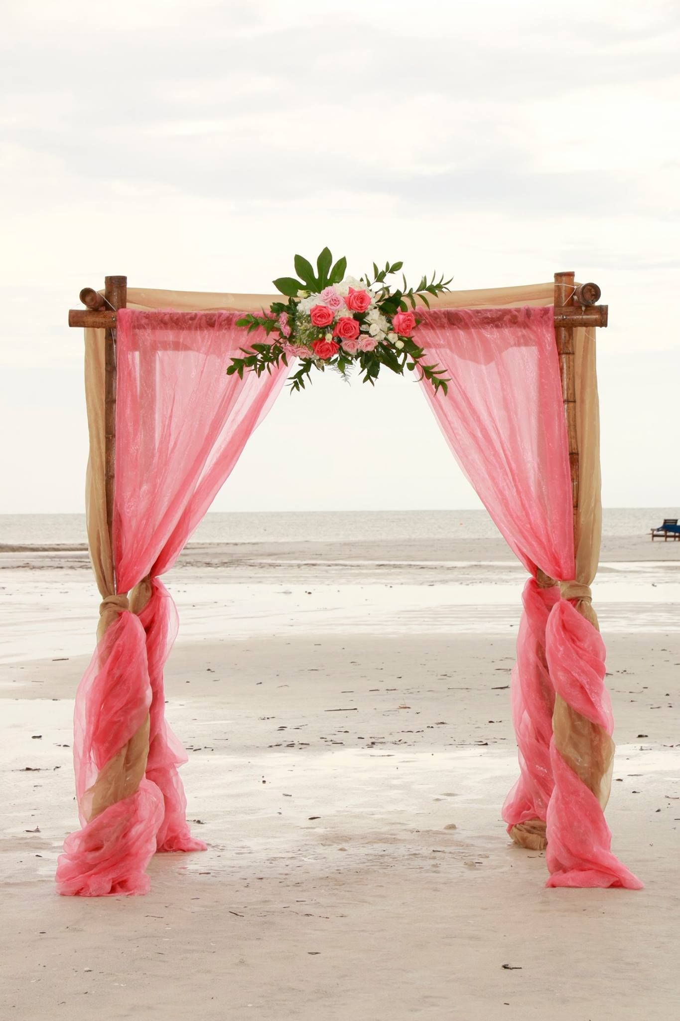 Coral And Champagne Wedding Bamboo Arbor Floral Arch Wedding