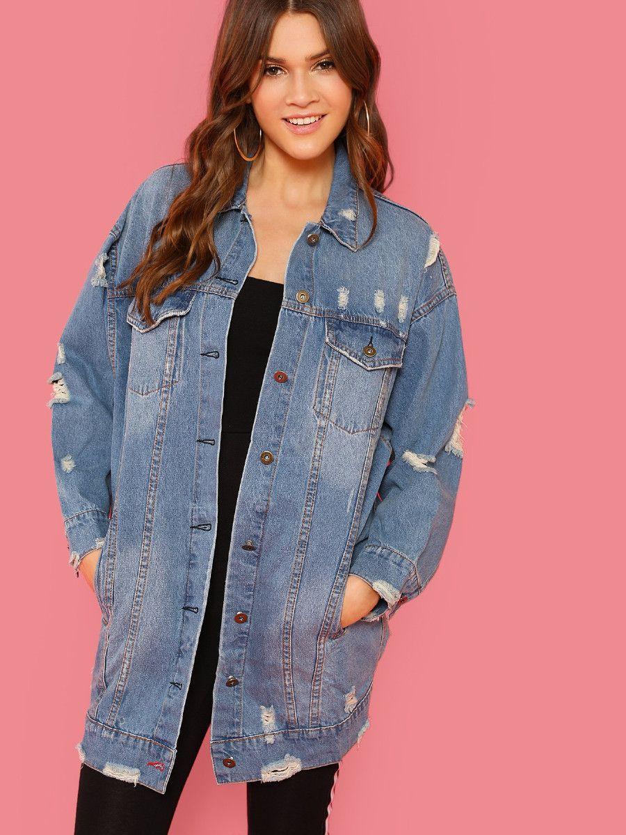 991e32bf3a Oversized Distressed Denim Jacket -SheIn(Sheinside) | Things I want ...