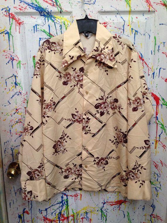 Vintage mens disco pimp nylon polyester shirt long  sleeve button down size rommy Medium earth tones flowers 1970's  RagsAGoGo