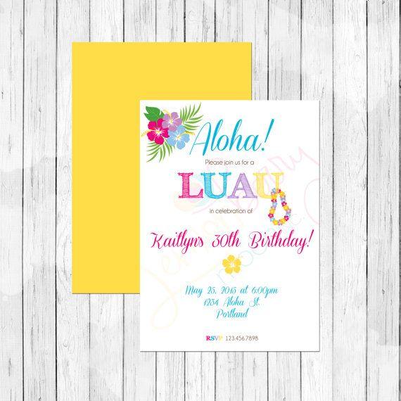 Luau theme 30th birthday party personalized birthday invitation or luau theme 30th birthday party personalized birthday invitation or evite hawaiian invitation aloha invitation filmwisefo