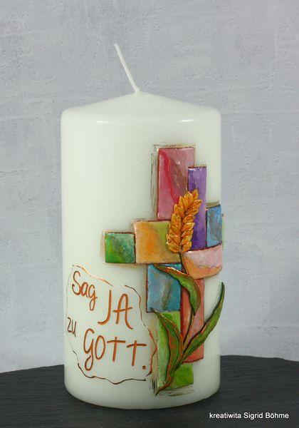 Kerze Zur Konfirmation Und Firmung Von Kreatiwita Kerzen Kunst