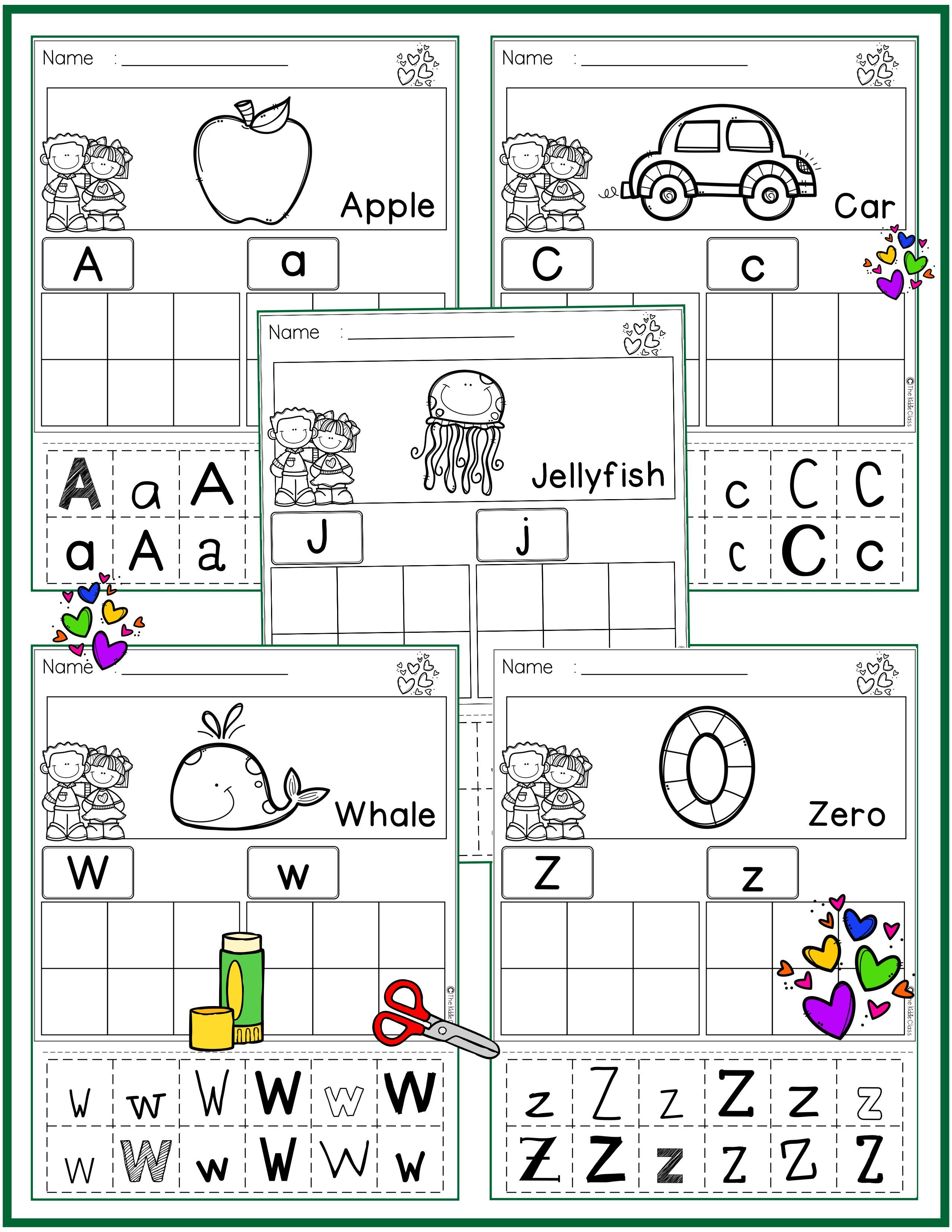 26 alphabet cut and paste pages these pages are perfect for beginning of the year in preschool. Black Bedroom Furniture Sets. Home Design Ideas