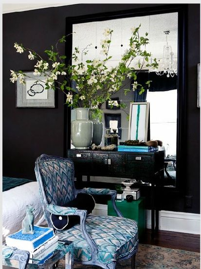 black walls, bedroom, interiors, accent chair, mirror