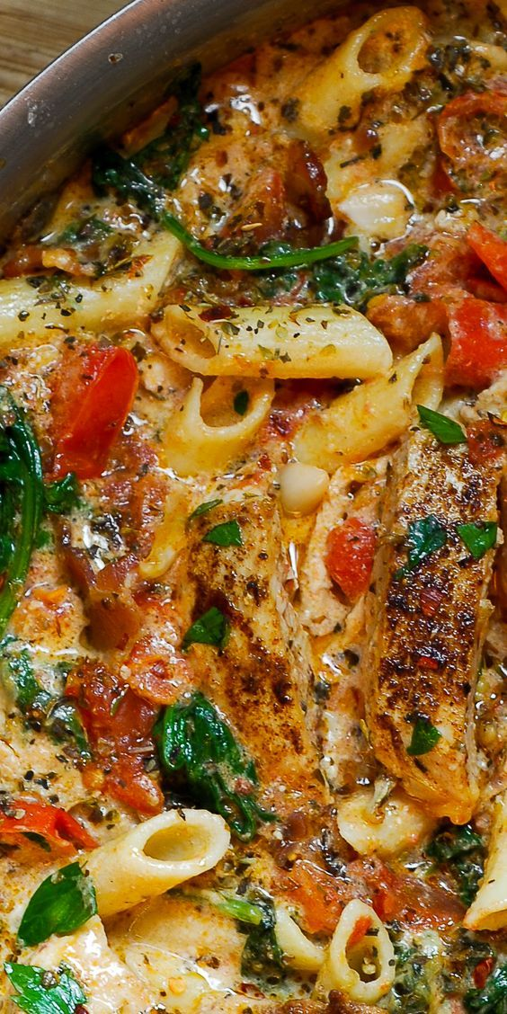 Chicken Penne Pasta with Bacon and Spinach in Creamy Tomato Sauce #dinnerrecipes