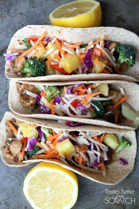 Thai Peanut Chicken Tacos recipe on TastesBetterFromScratch.com