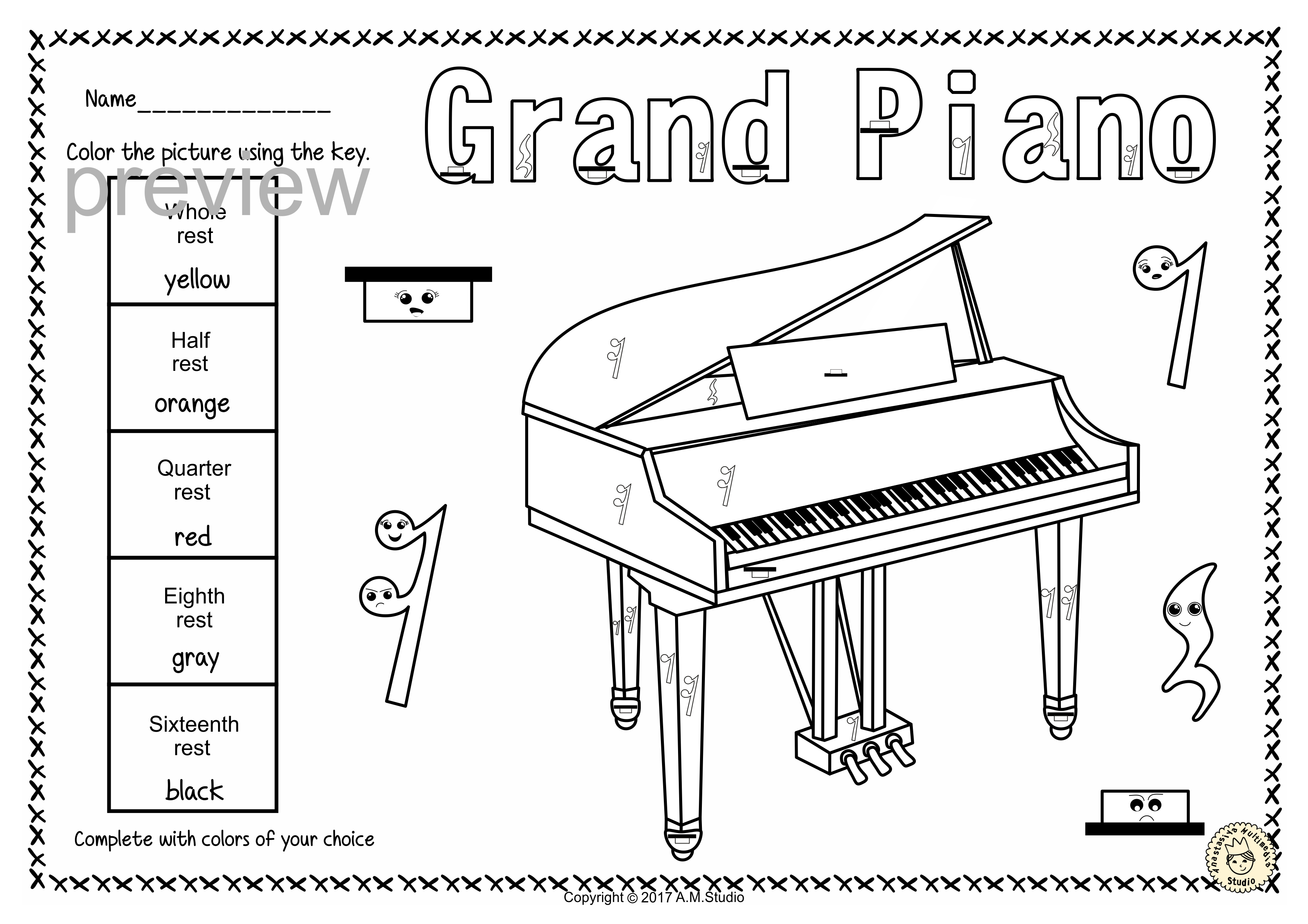 This Set Contains 7 Designs Of Keyboard Musical Instruments Accordion Celesta Clavichord Grand Piano Harpsichord Music Page Music Keyboard Instruments