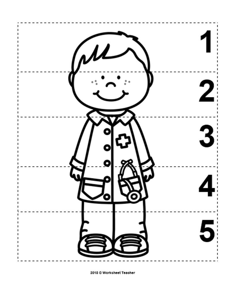 10 Community Helpers Number Sequence 1 5 Preschool Math B W