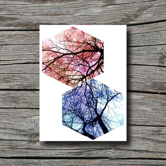 Geometric decor art, blue purple white black orange pink yellow red, bare tree, hexagon, office decor, bathroom home decor wall art, bedroom...