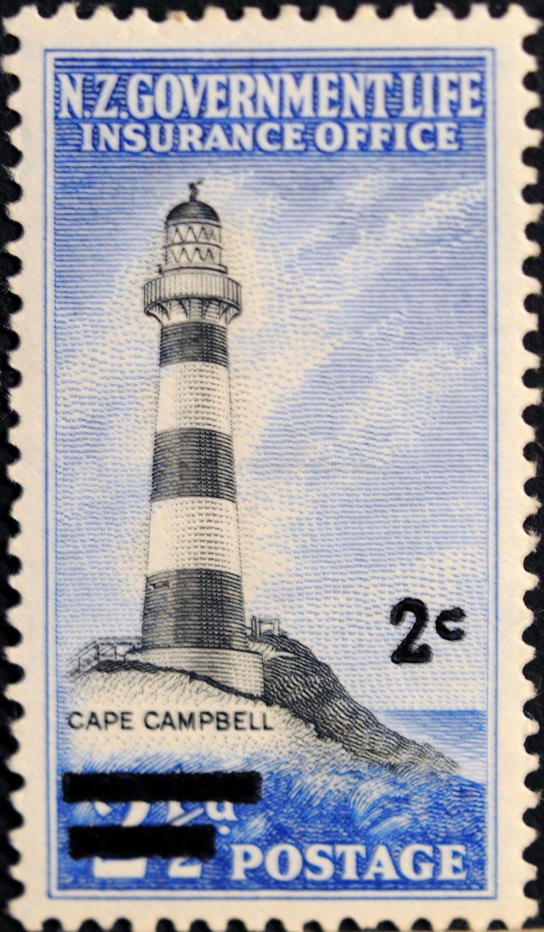 New Zealand 184 1967 Life Insurance Department Lighthouse Cape Campbell Latarnie Morskie Morski
