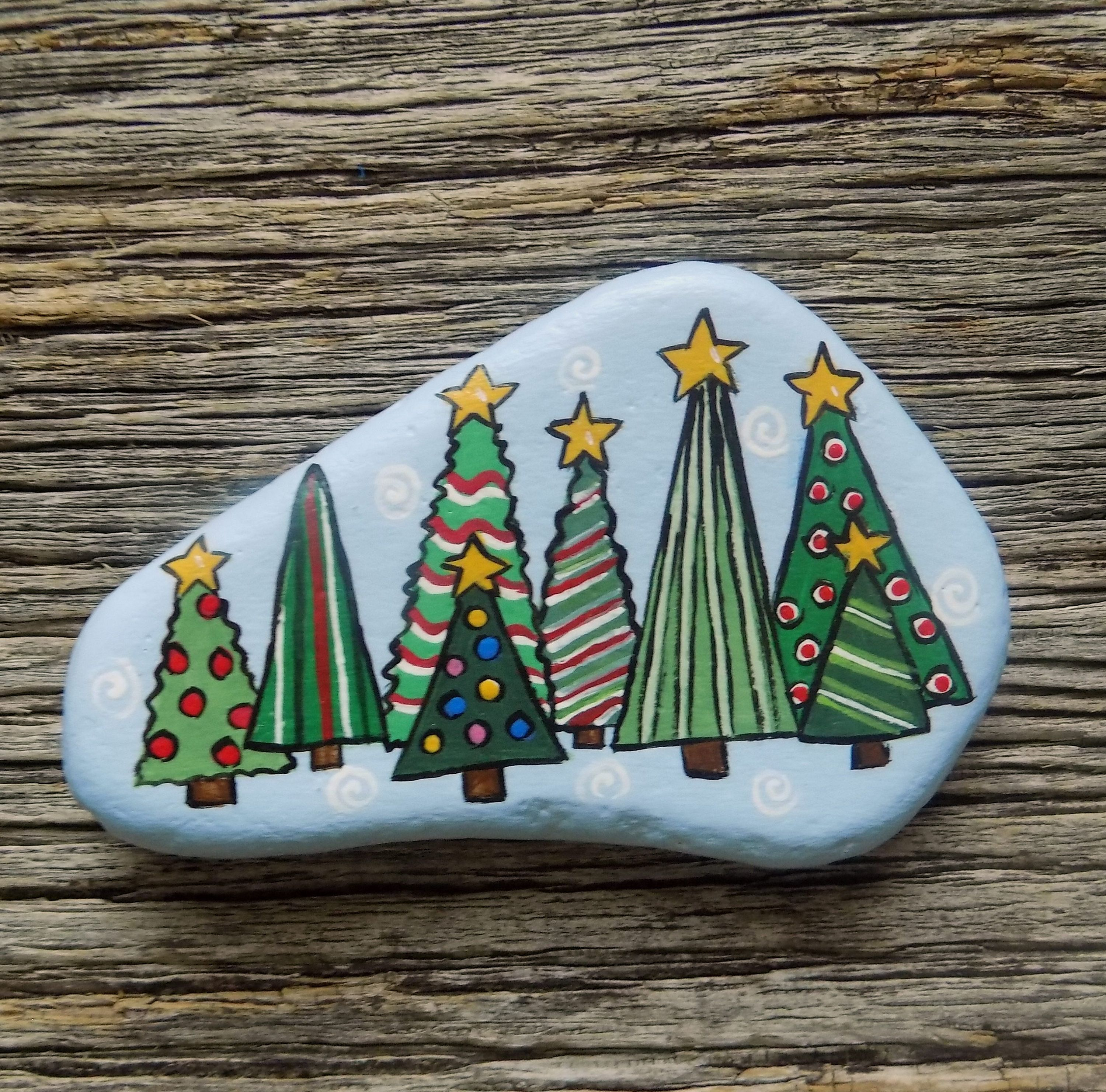 Decorated Trees Painted Rock Decorative Accent Stone Paperweight