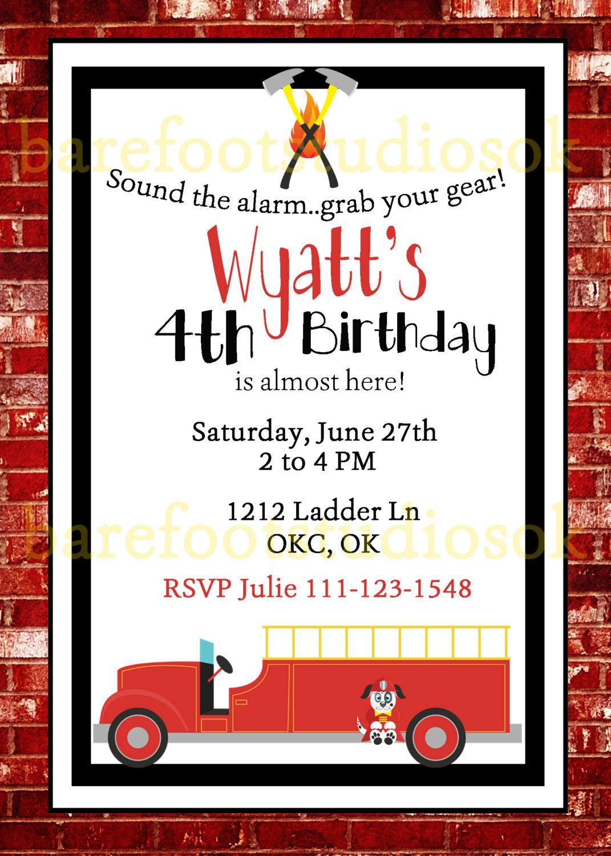 Fire Truck Birthday Invitation, Fire Truck Birthday, Vintage ...