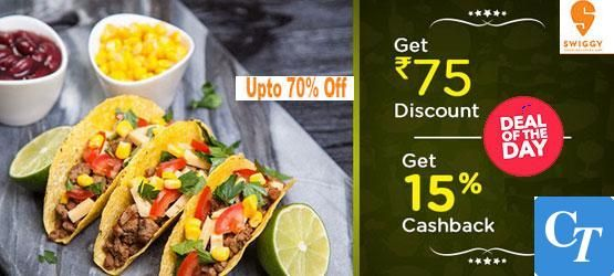 Order Food online @ Swiggy and Grab 75/- Rs Off and Extra 15