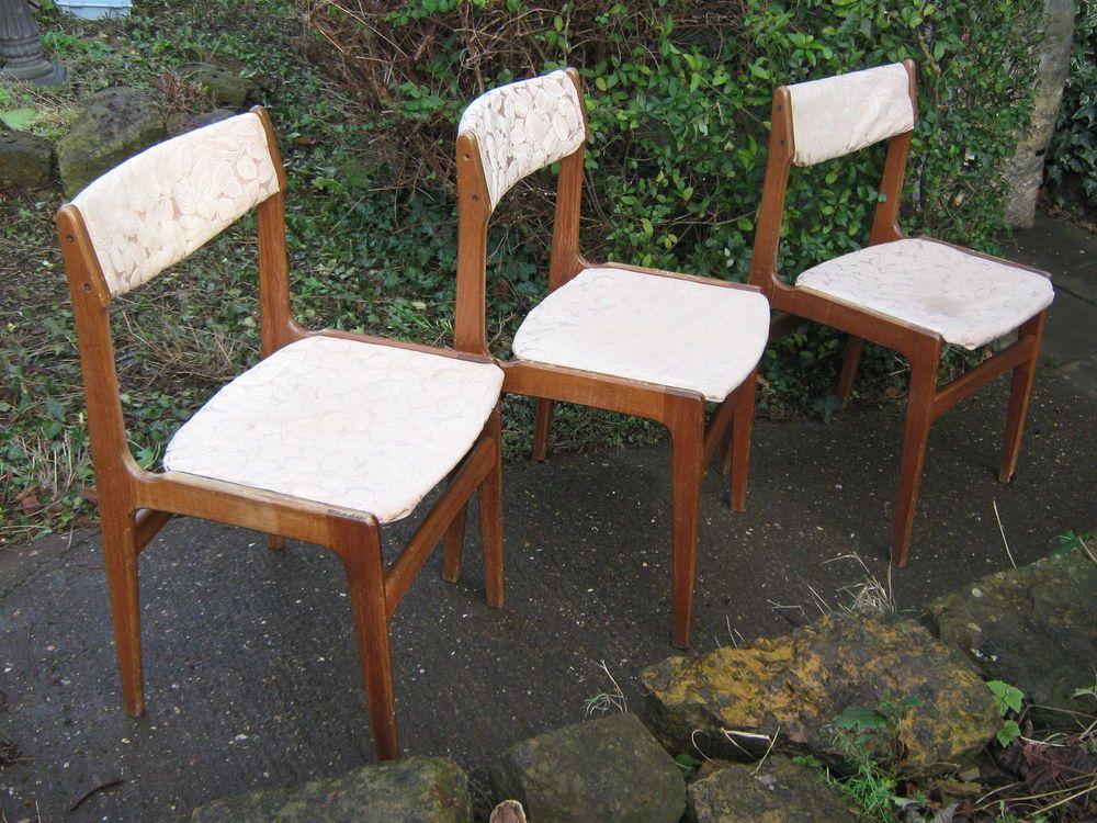 163 40 For X3 Teak Dining Chairs Danish G Plan Refurb