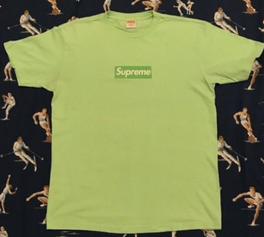 100% AUTHENTIC 2007 Supreme Lime on Lime Box Logo Tee RARE north face hoodie