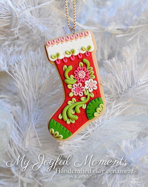 Manualidades Navidenas Con Arcilla.Handcrafted Polymer Clay Stocking Ornament Adornos De