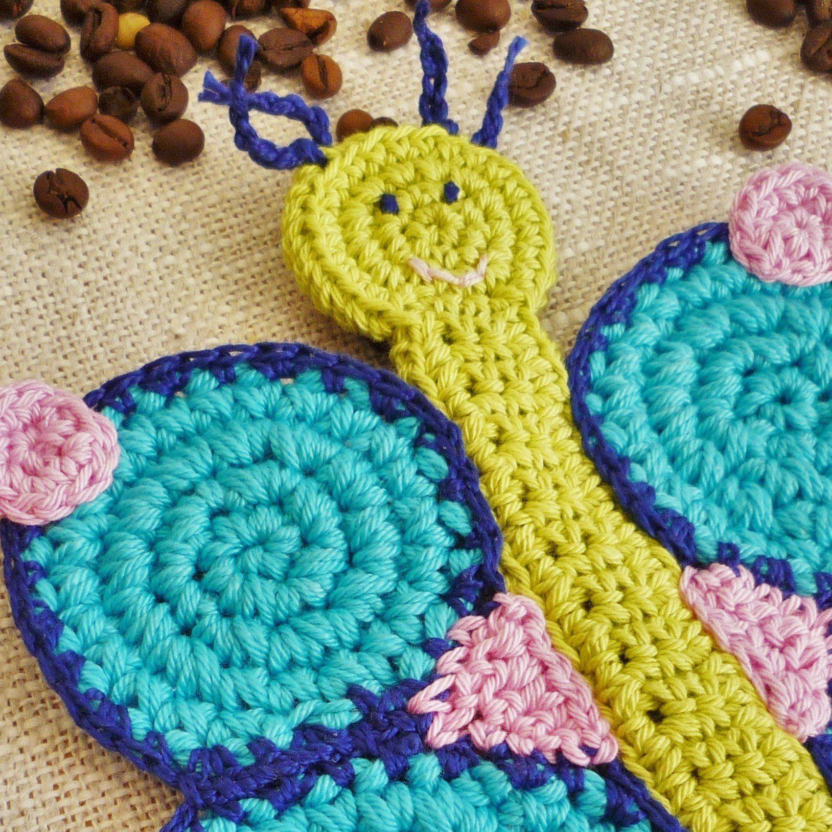Blue butterfly crochet coaster girls room decor