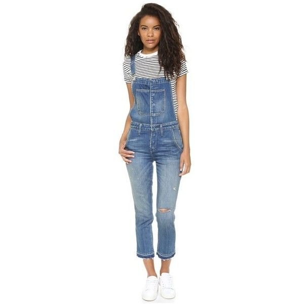 AMO Babe Overalls ($405) ❤ liked on Polyvore featuring jumpsuits, dive bar with destroy, blue jumpsuit, bib overalls, blue bib overalls, distressed overalls and blue overalls