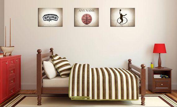 Personalized set of 3 San Antonio Spurs photo print,boys room decor,Spurs decor,basketball decor,San Antonio Spurs Decor,San Antonio decor