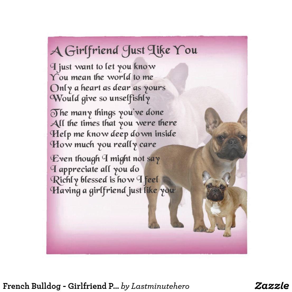 French Bulldog Girlfriend Poem Notepad Zazzle.co.uk