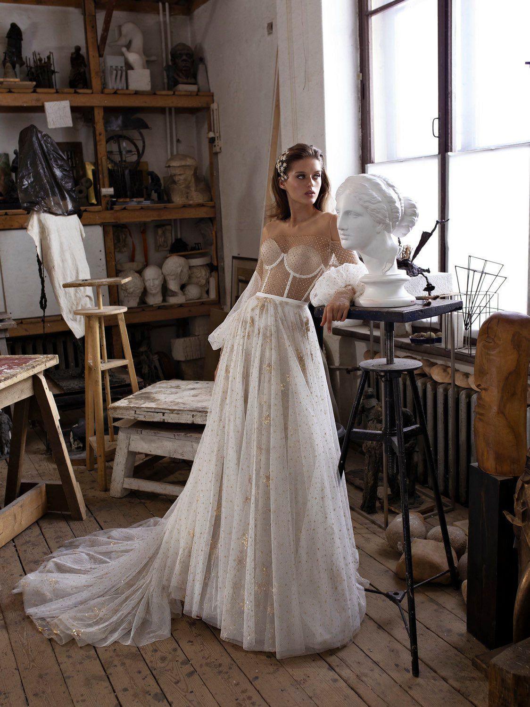 Brautkleid MULLET mit Seidenrock und langem Zug • A-Linie Brautkleid •