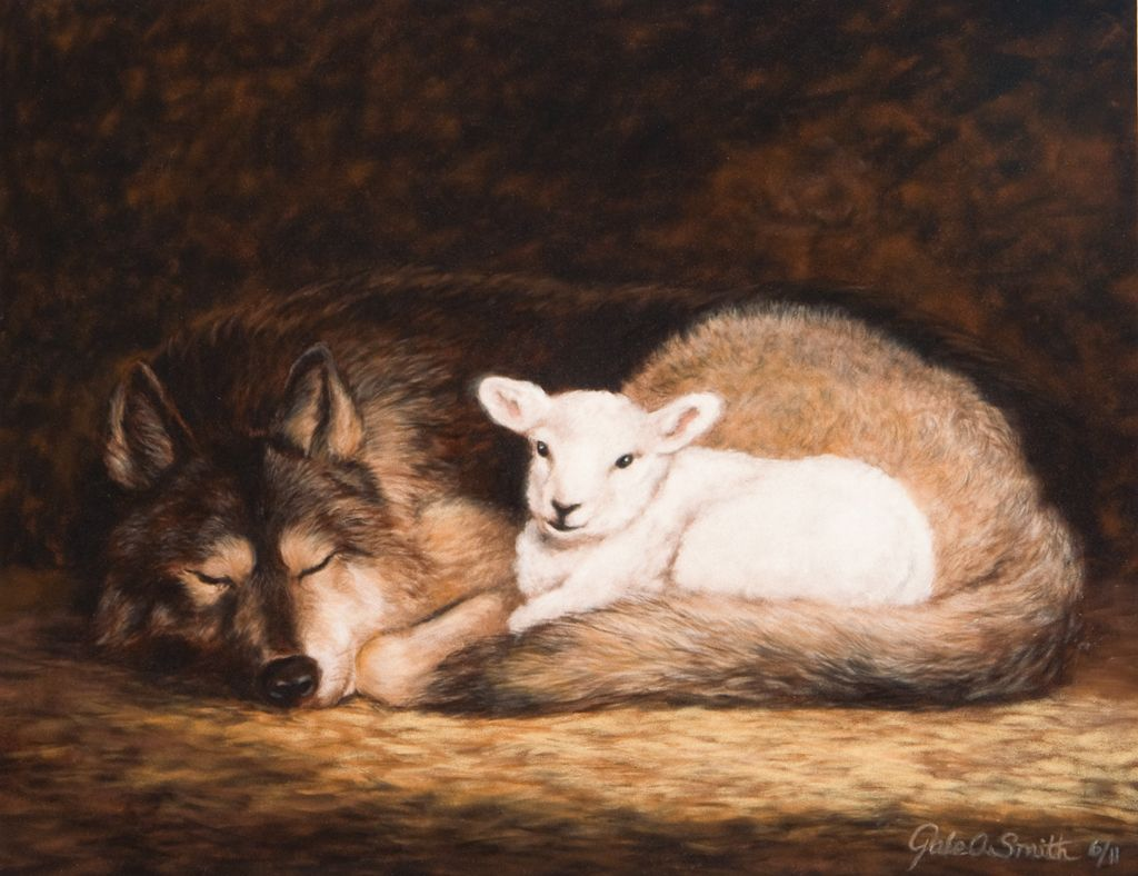 "The Wolf Shall Dwell With the Lamb. - Isaiah 11:6, ""The wolf also ... for Lion And Lamb Painting  181pct"