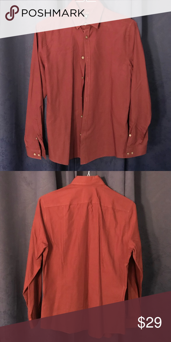 Hm Long Sleeve Button Down Shirt Red Size Small My Posh Picks