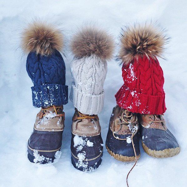 LL Bean boots with beanies