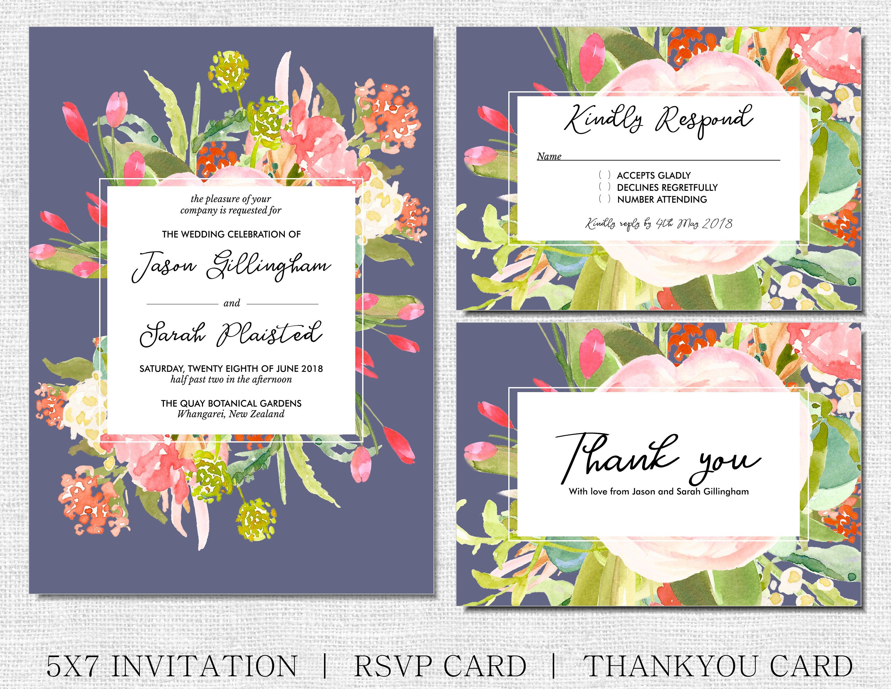 Spring Floral Wedding Invitation With Matching Rsvp And Thank You