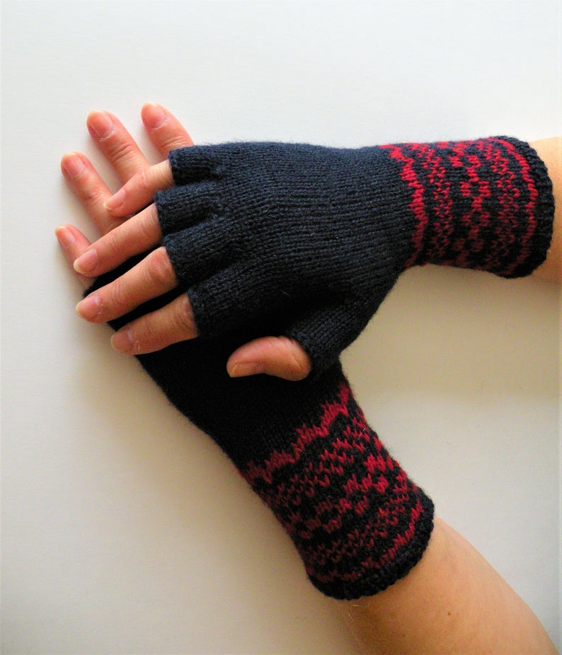 Hand Knit Half Finger Wool Gloves Knit Wool Mittens Knit Etsy In 2020 Wool Gloves Fingerless Gloves Knitted Wool Mittens