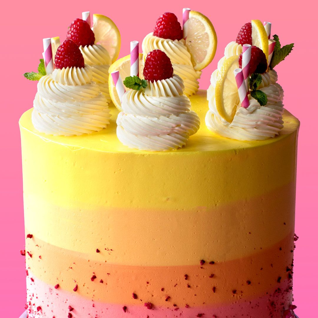 Raspberry Lemonade Cake Why drink lemonade when you can eat it in beautiful cake form?
