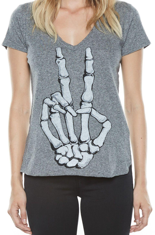 Emmalyn Skeleton Peace S/S V-Neck Scoop Raw Hem Tee - Lauren Moshi - 4