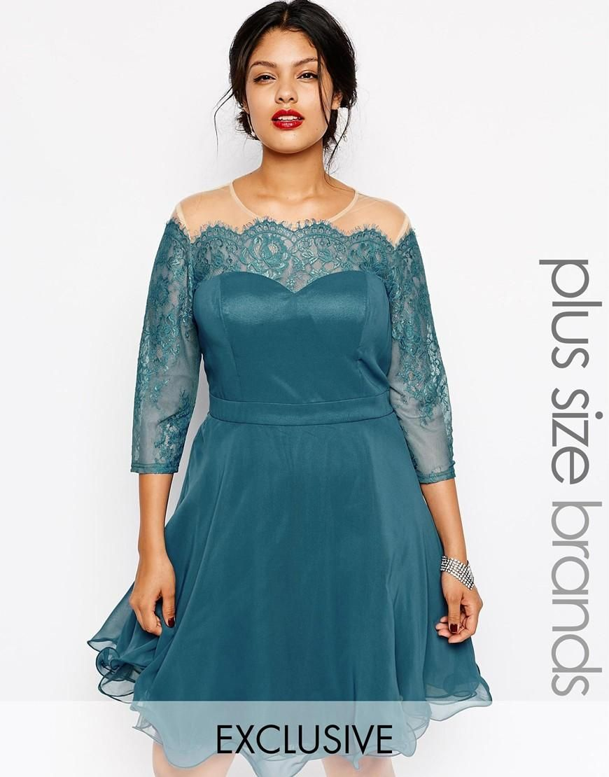 Chi Chi Plus | Chi Chi Plus Lace Prom Dress With Bardot Neck at ASOS ...