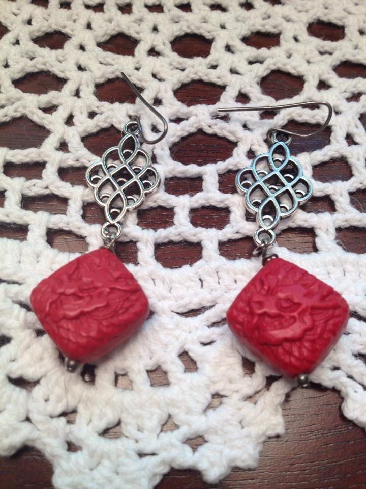 Earrings Vintage Style Antique Chinese Dragon Cinnabar Red Carved Filigree Silver Dangle Asian by ReclaimedRemains on Etsy