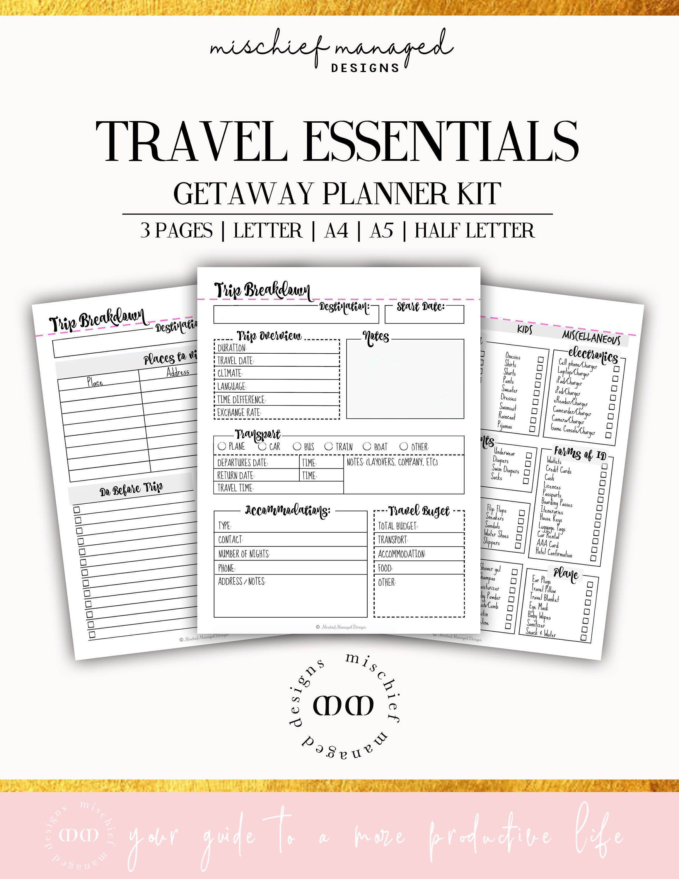 Travel Planner Itinerary Template Packing Checklist