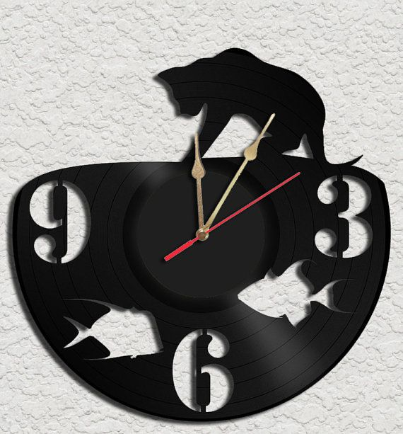 Fishing Cat Vinyl Record Clock Upcycled vinyl records Great Gift