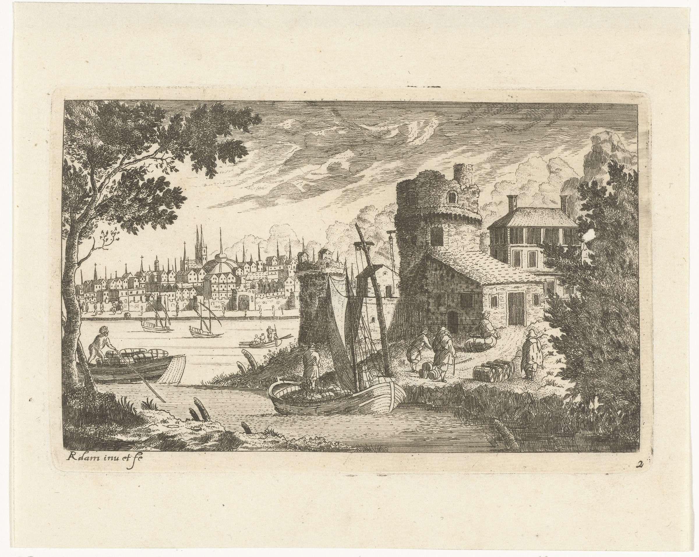 Richard Adam | Stadsgezicht met vissershaven en deel van de stadsmuur, Richard Adam, Johannes de Ram, 1654 - 1693 | Stadsgezicht met vissershaven en boten. Op de voorgrond een aanmerende boot met gehesen zeilen en een stuk van een stadsmuur met toren.