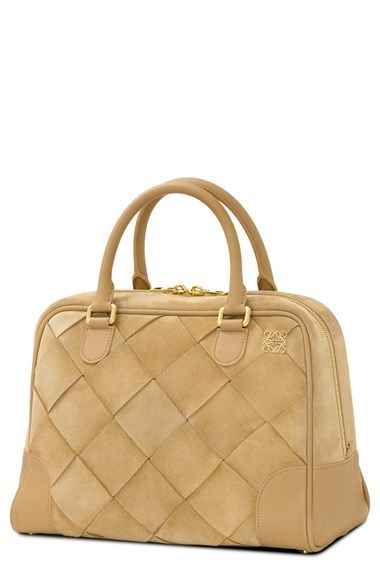LOEWE 'Amazona 75' Woven Suede Satchel available at #Nordstrom