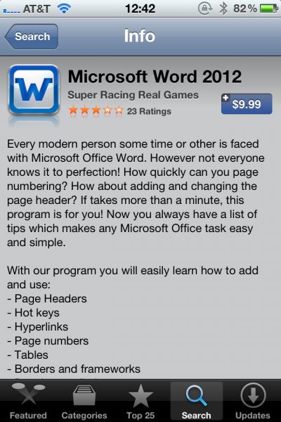 "Fake ""Microsoft Word 2012"" in Apple App Store Personal"