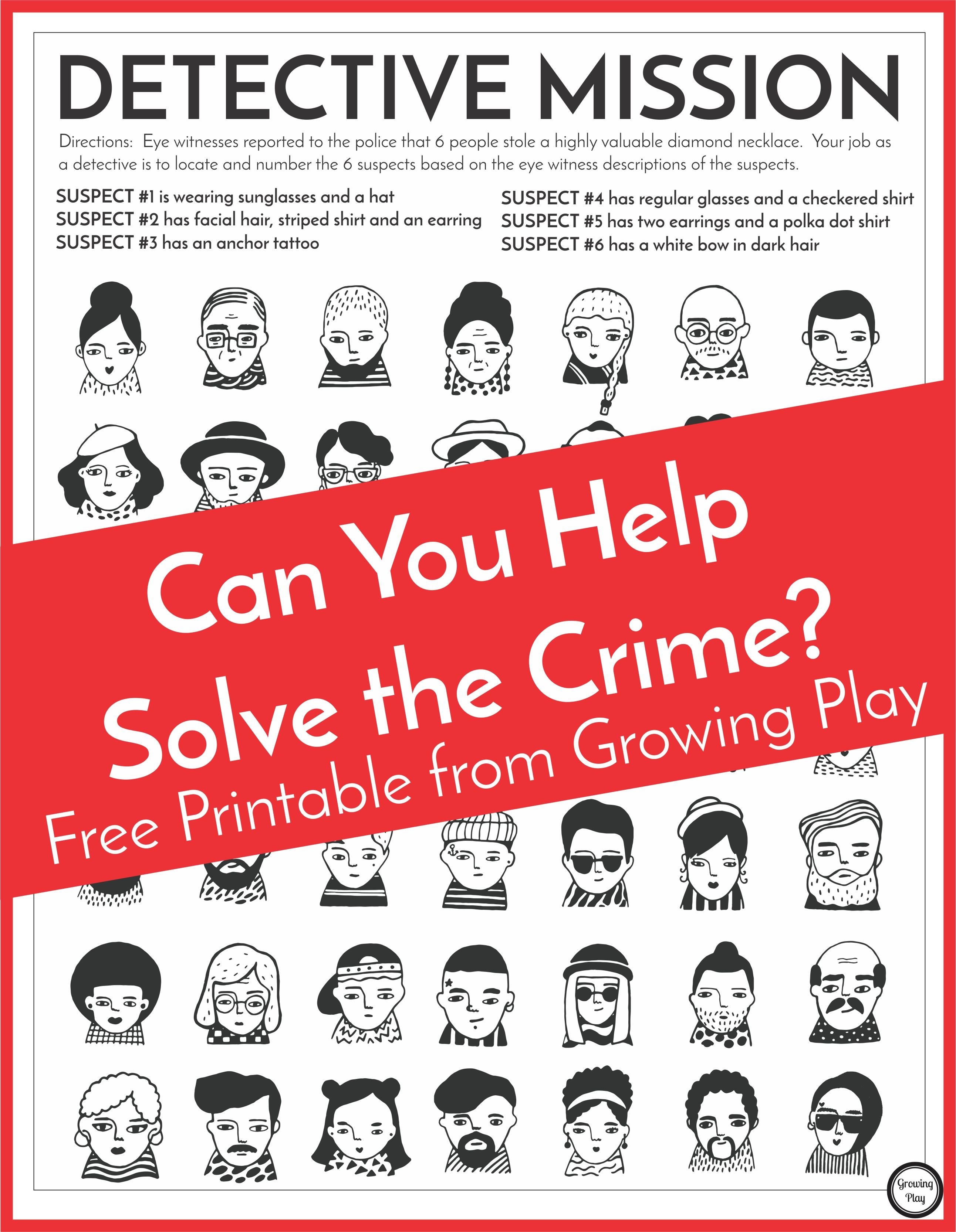 Detective Puzzle for Kids Free Printable Mystery games
