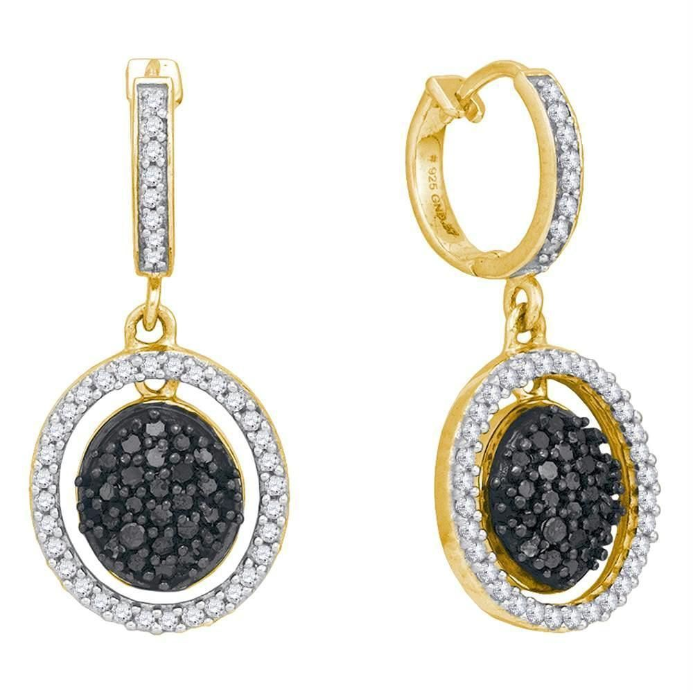 0006044185 10kt Yellow Gold Women's Round Black Color Enhanced Diamond Oval Frame  Dangle Earrings 3-4 Cttw - FREE Shipping (USA/CAN)