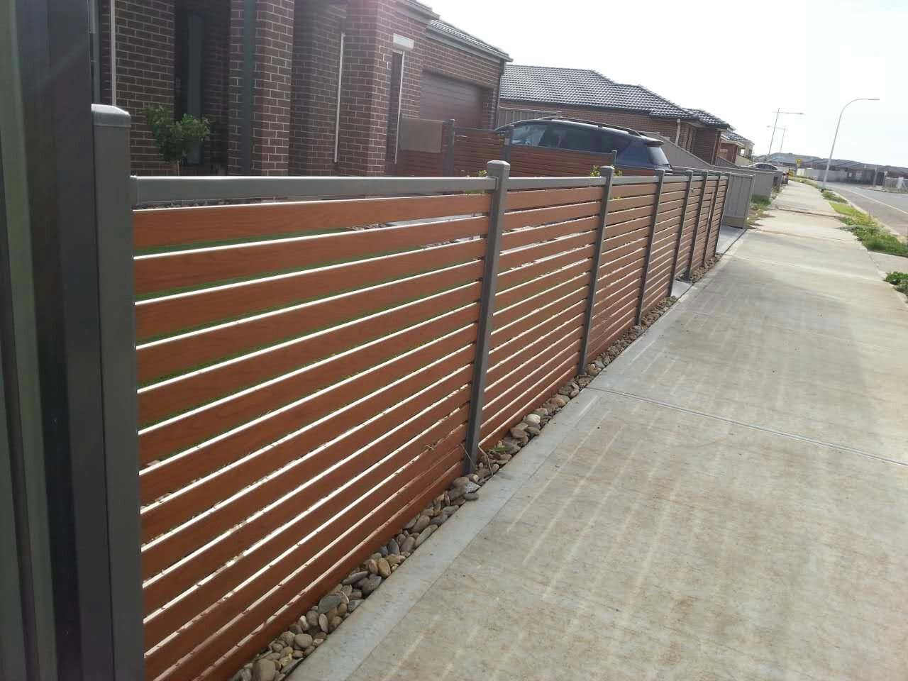 Best 25  Aluminium fencing ideas on Pinterest | Modern fence ... for Stainless Steel Main Gate With Aluminium Wood Color Design  59dqh