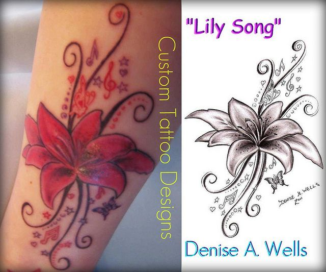 680010b69 This is the tattoo I would like on my shoulder since I love music and  lilies! by ♥Denise A. Wells♥