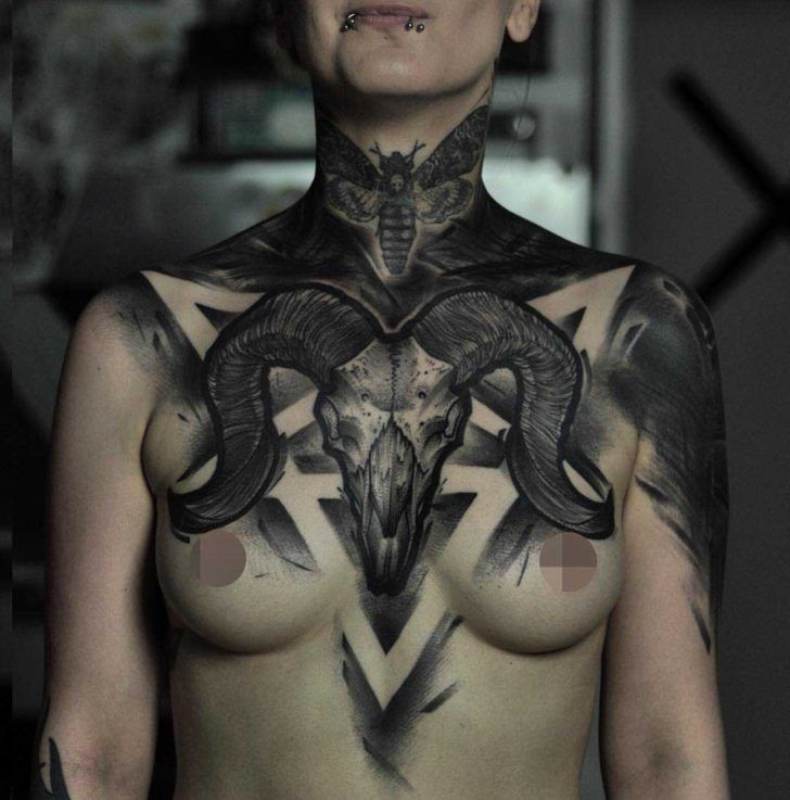 Ram Skull Tattoo On Chest Ram Skull Brighton Tattoo Ram Tattoo