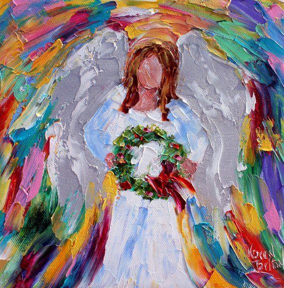 Angel painting, Karensfineart, angel art, Christmas angel