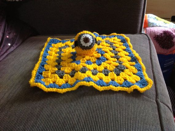 Crocheted Minion baby comfort blanket pacifier lovey by mrsmcnair ...