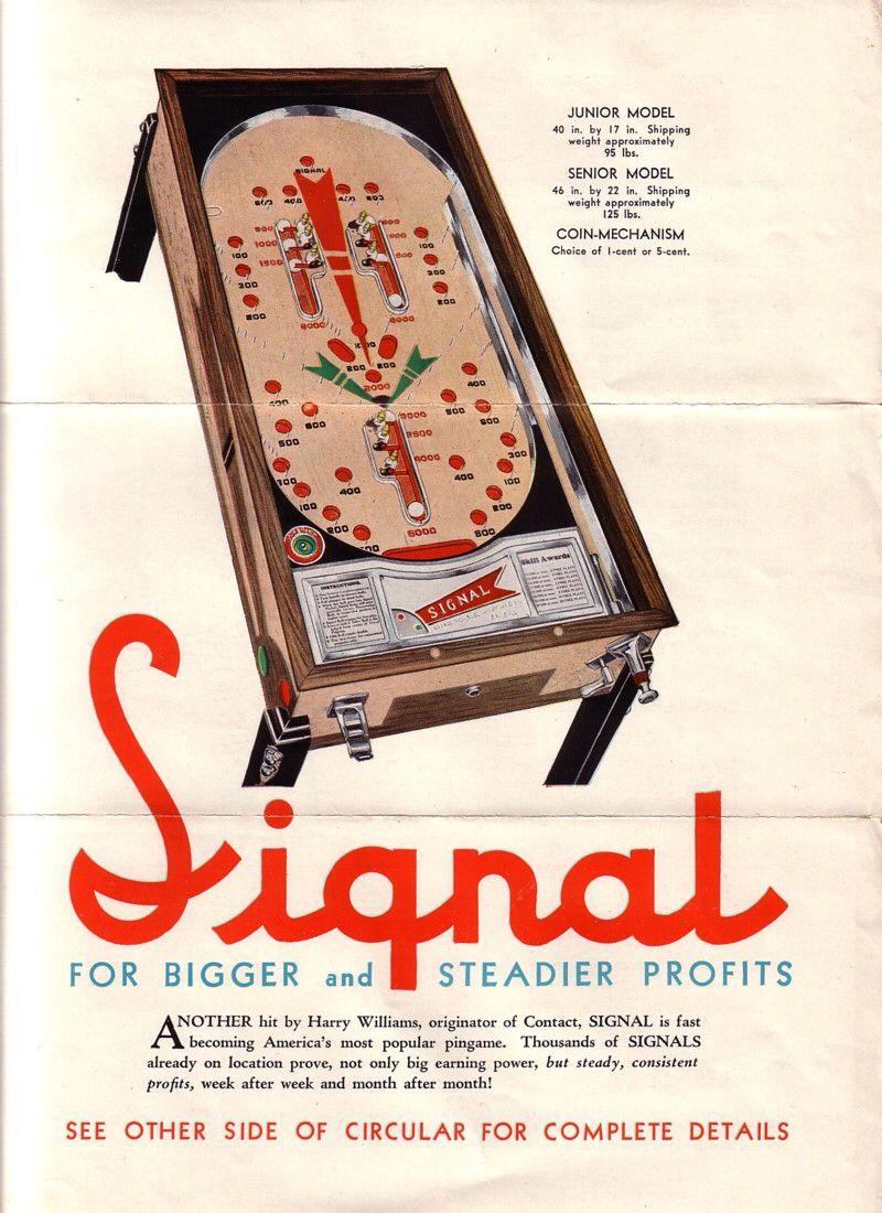 Antique Pinball Advertisement 1934 Bally Signal