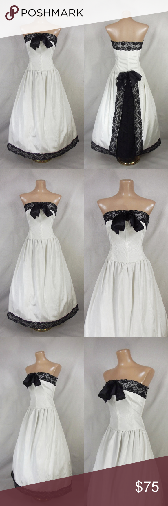 Vintage s moire taffeta strapless prom dress my posh closet