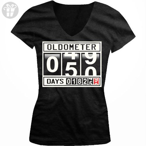 b06ab51fa Oldometer 50 Years Old Ladies Junior Fit V-neck T-shirt, Funny Gag 50th  Birthday, Fifty Years 18250 Days Age Odometer Design Junior's V-Neck Tee  (Black, ...