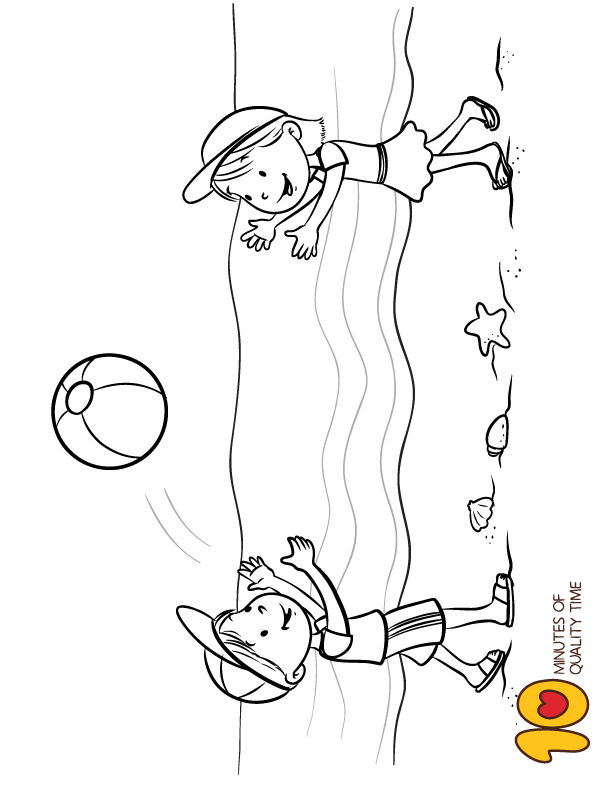 Kids Playing Ball On The Beach Coloring Page Goruntuler Ile