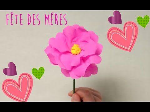F te des m res comment faire une fleur en papier cr pon youtube cr ativit pinterest - Comment faire des fleurs en papier ...